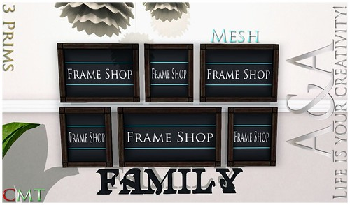 ::A&A:: Antique Family Multi Frame - 3 Prims by Alliana Petunia