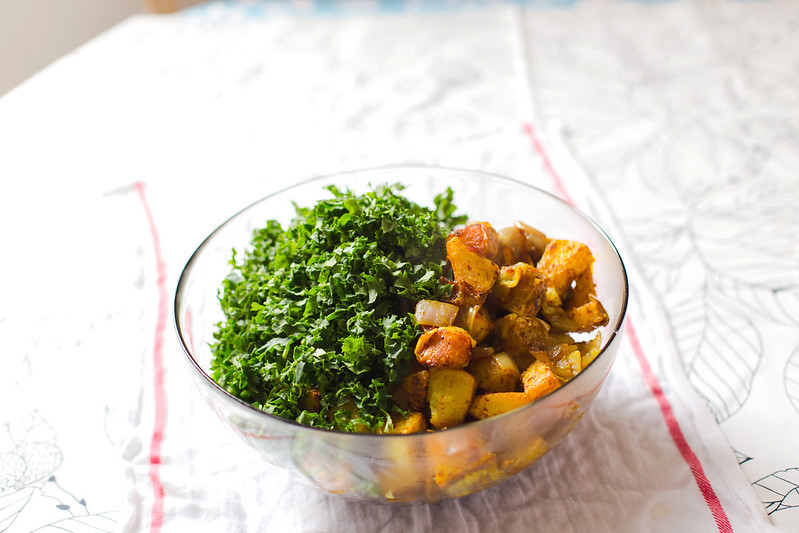 Sweet Potato, Black Beans and Kale