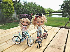 Tilly and Apple enjoying the outdoors and their bikes