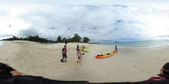 Three Kayakers heading out near the mouth of the Ka'elepulu Stream at Kailua Beach - a 360 degree Equirectangular VR