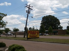 Closer view of the Arlington TN Fred's road sign