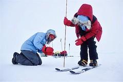 Bernice and Ann measuring snow depth