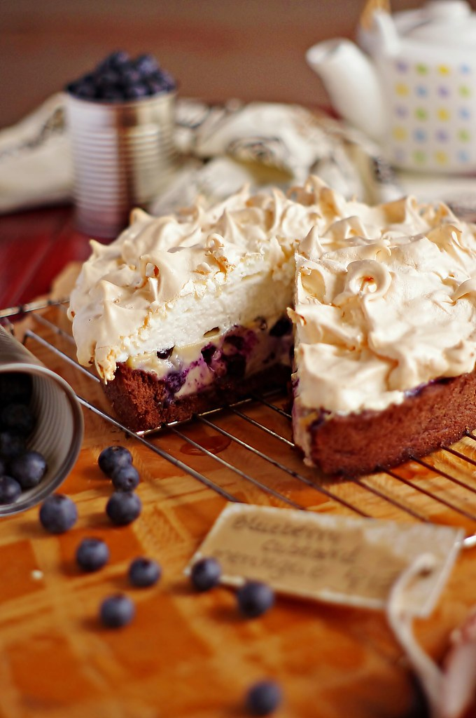 blueberry custard meringue cocoa pie