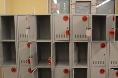 Lockers at the entrance of a Russian supermarket, to hold your backpack