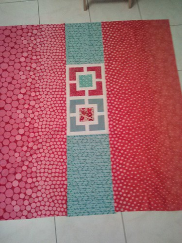 red aqua garden fence quilt back