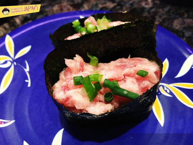 Conveyor Belt Sushi - tuna and scallions