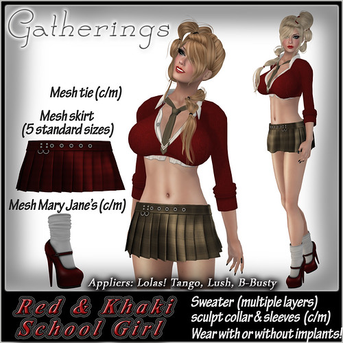 GD School Girl Red & Khaki by Stacia Zabaleta
