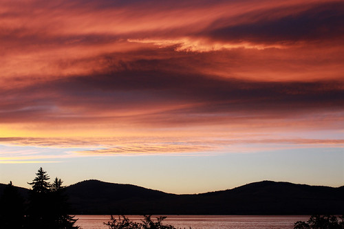 Sunset over Flathead Lake, take one
