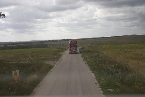 Boris Bus in the middle of Salisbury Plain