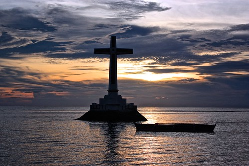 large cross at sundown