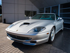 race car, automobile, automotive exterior, ferrari 550 maranello, vehicle, performance car, automotive design, ferrari 550, ferrari 575m maranello, bumper, land vehicle, luxury vehicle, supercar, sports car,
