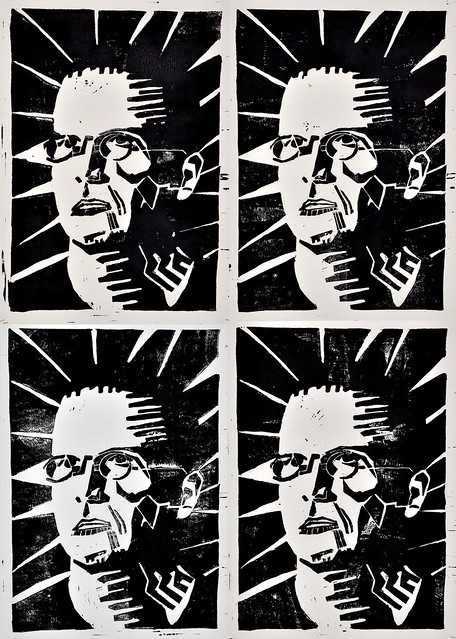 linocut self portrait