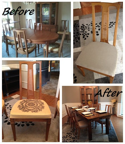 Reupholstered Dining Chairs Before & After