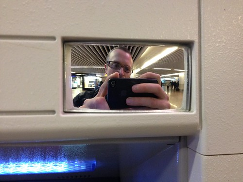 Rear view mirror on a cashpoint in Brussels airport