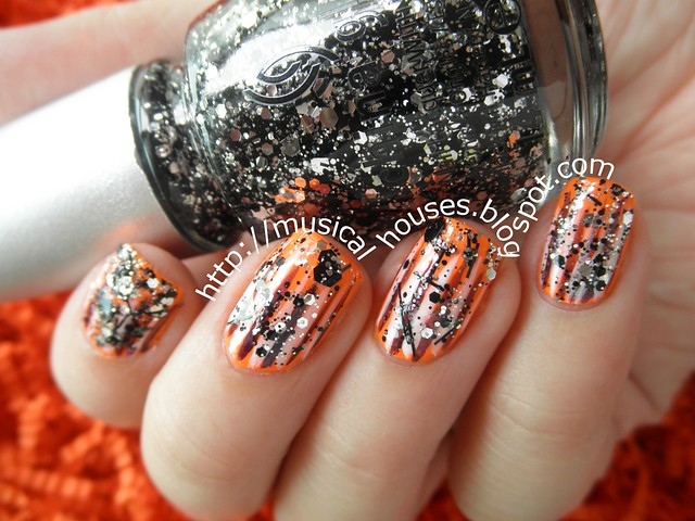 Halloween Nails Neon Orange Glitter Stripes 4