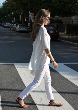 white jeans flowy white top