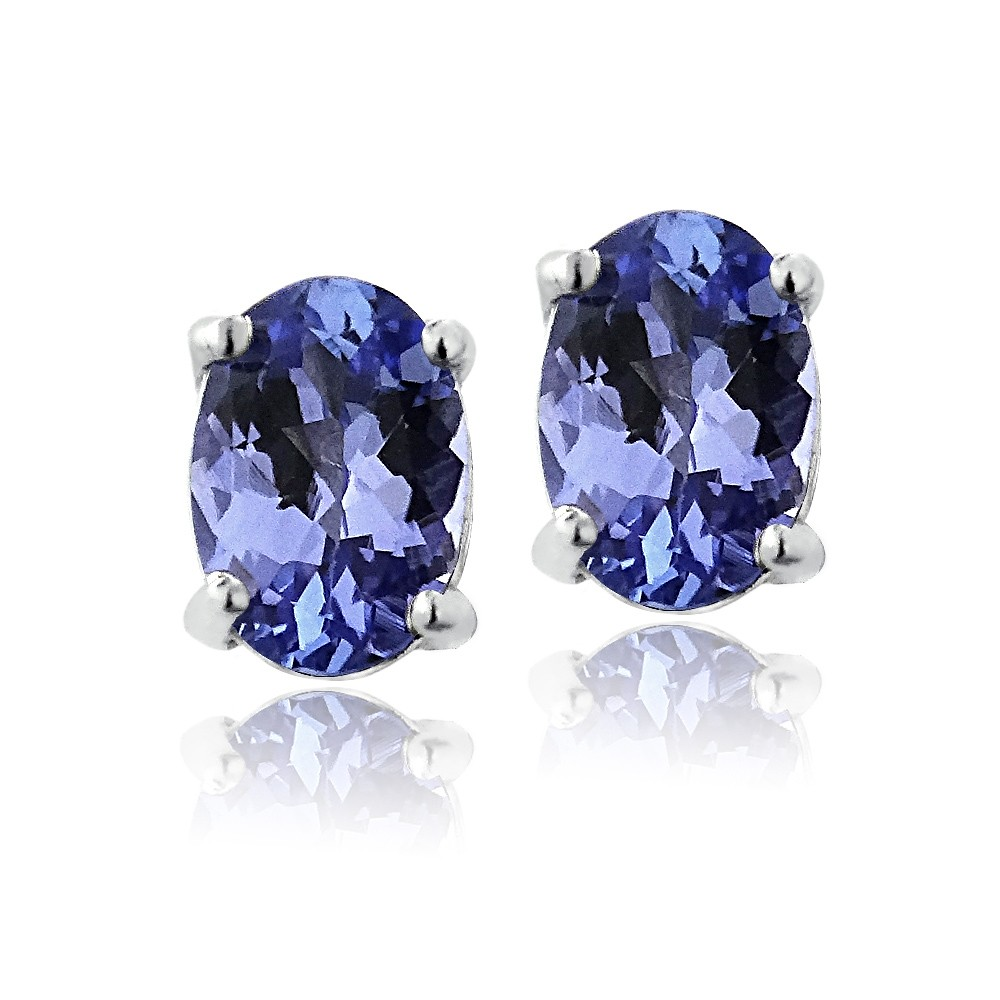 Sterling silver genuine tanzanite oval stud for Fall into color jewelry walmart