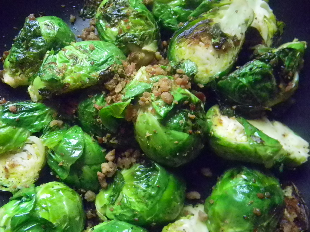 Brussels Sprouts with Roasted Pine Nuts and Bacon