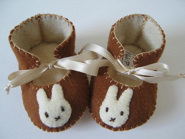 brown and cream baby booties with Miffy motifs by Funky Shapes, on Flickr