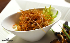Fried enoki mushrooms at Cherry Garden, Mandarin Oriental, Singapore