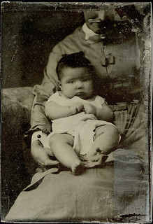 Chubby Baby with a Partially Hidden Mother Tintype