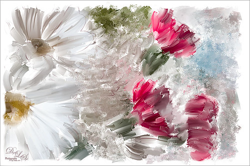 Image of Mums and Carnations painted with Corel Painer