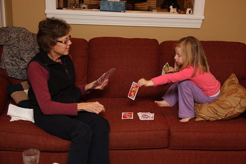 Playing Uno with Grandma