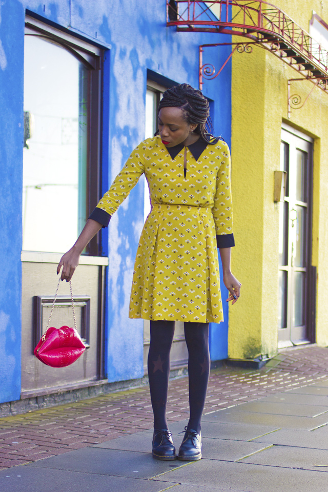 how to wear a yellow dress in Winter