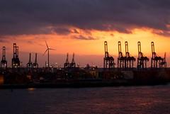 Sonnenuntergang im Hamburger Hafen