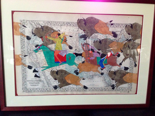 Ledger painting by Michael Horse