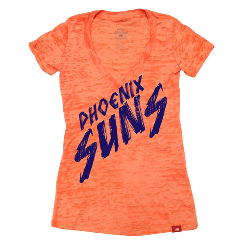 Phoenix Suns Sportiqe Women's Burnout Stroke V-Neck Tee - Orange