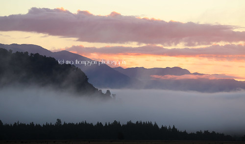 sunset newzealand mist mountains water weather fog clouds rural river farming nz foxglacier southisland westcoast westland southwestland cookriver rinathompson