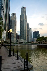 Singapore river with Cavenaugh bridge and Central Business District