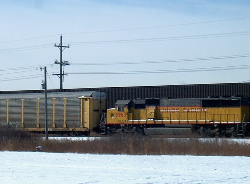 A northbound Union Pacific transfer train waiting on a hold order.  Bridgeview Illinois.  February 2007. by Eddie from Chicago