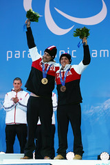 Marcoux and Femy celebrate their bronze medal performance in the Super-G at the 2014 Paralympic Winter Games in Sochi, RUS