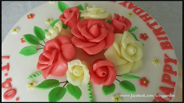 Birthday Cake / Fondant icing cake / Gumpaste flowers / Icing cake / Shobana's kitchen