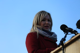 Michelle O'Neill speaking at the graveside of Martin McGuinness