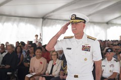 Adm. Scott Swift, commander of U.S. Pacific Fleet, renders honors after laying a wreath during an Australia and New Zealand Army Corps (ANZAC) Day ceremony at the National Memorial Cemetery of the Pacific, April 25. (U.S. Navy/MC2 Brian M. Wilbur/Released)