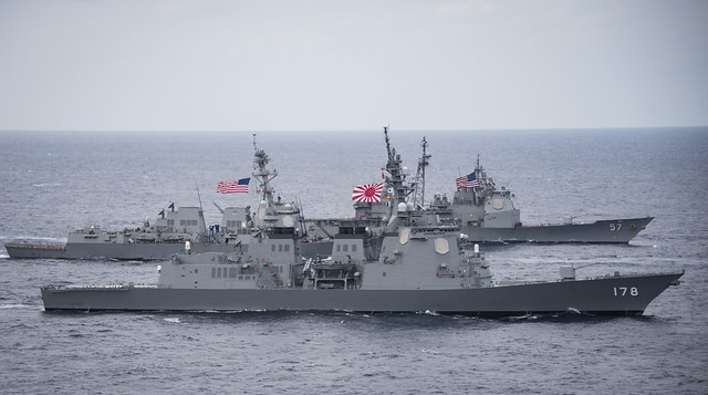 U.S. Navy and JMSDF ships transit Philippine Sea