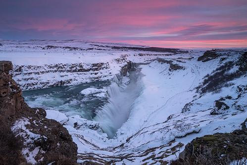 waterfall iceland snow winter landscape gulfoss sunset cloud