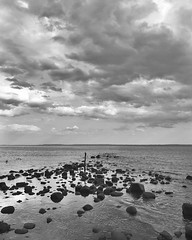 Dusk at the beach. New York. 2017. #blackandwhite #landscape #nyc #statenisland #springbreak #sea #rocks #ocean #clouds #dusk #beach #peaceful #monochrome