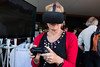 Elizabeth Vines OAM, with Tim Davidson, from Virtual Perspective demonstrating Newcastle in 1825 virtual reality, 20 April 2017