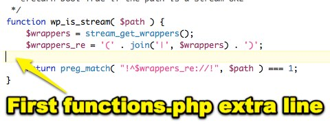 First functions.php extra line