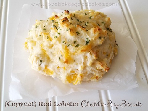 {Copycat} Red Lobster Cheddar Bay Biscuit on parchment paper.