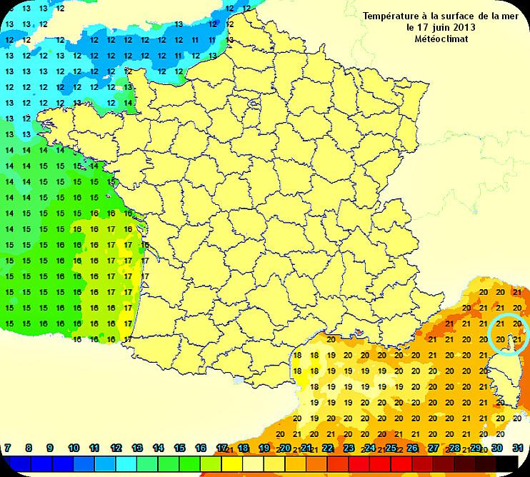 température en mer sur les côtes françaises le 17 juin 2013 météopassion