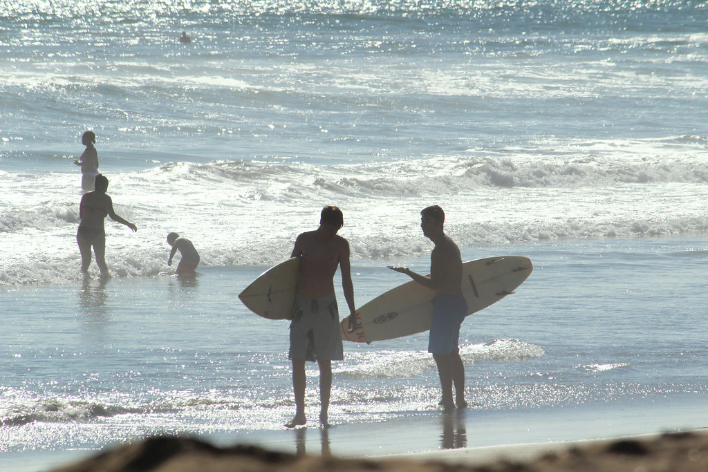 surfers on shore