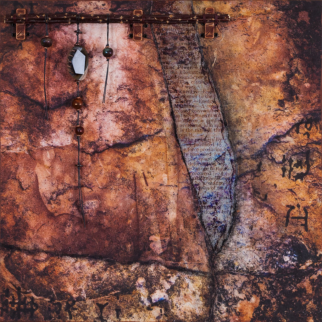 12 x 12 mixed media inspired by a rock in Escalante Petrified Forest available - $225