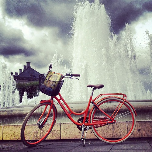 My bike+fountain= happy happy day!