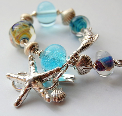 Blue Stack Lampwork & Silver by gemwaithnia