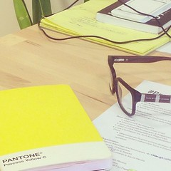 #lifeatcloudie Cassie's Desk:) #pantone #yellow #office